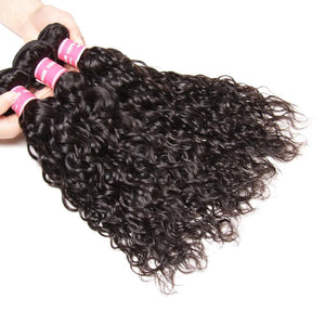 3 Bundles Brazilian Water Wave with 4*4 Lace Closure-Donmily Hair