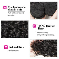 3 Bundles Malaysia Water Wave with 4*4 Lace Closure-Donmily Hair