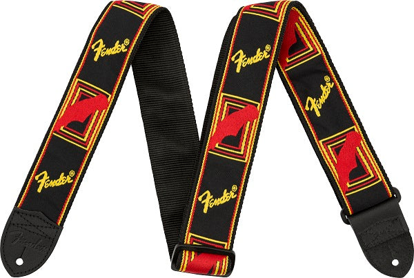 "Fender 2"" Monogrammed Strap (Black / Yellow / Red)"