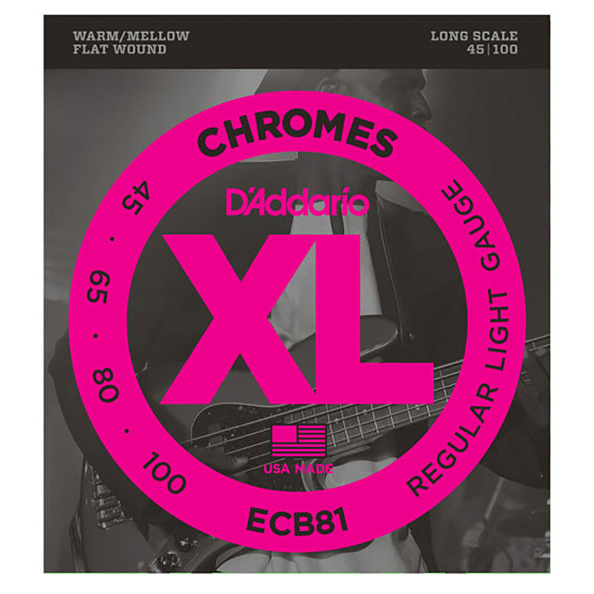 D'Addario ECB81 Chromes Bass Set - Light, 45-100, Long Scale