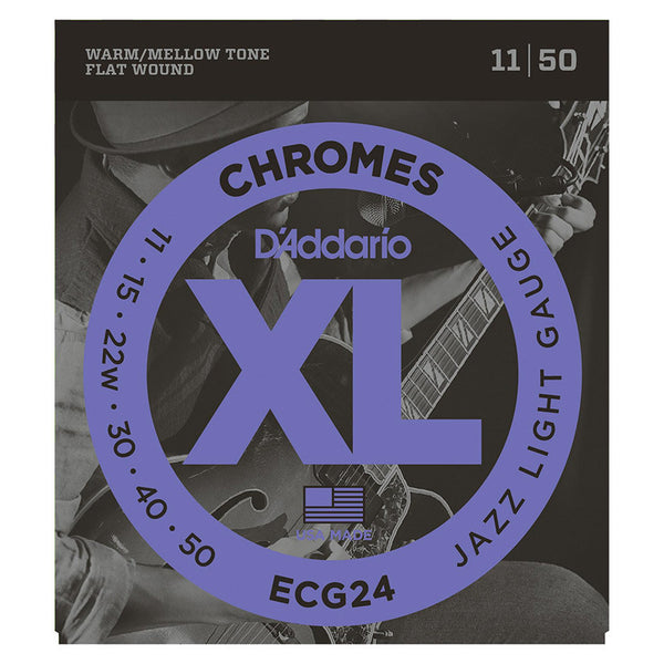 D'Addario ECG24 7 String Chromes Set - Flat Wound, Jazz Light, 11-65