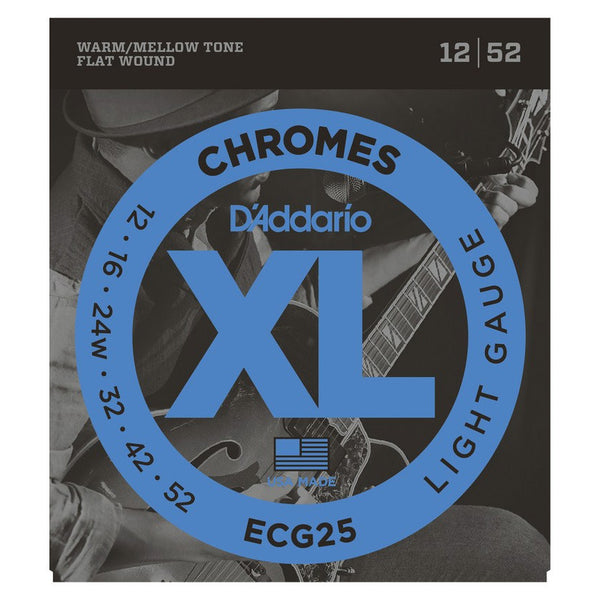 D'Addario ECG25 Chromes Set - Flat Wound, Light, 12-52