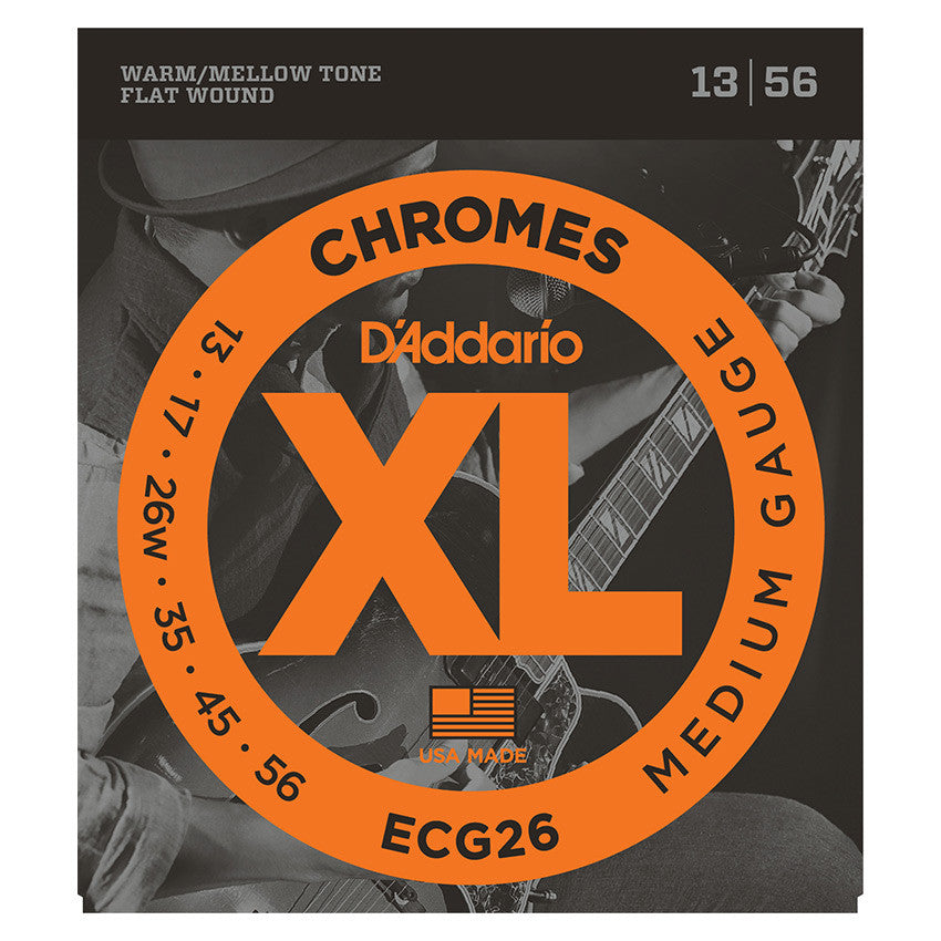 D'Addario ECG26 Chromes Set - Flat Wound, Medium, 13-56