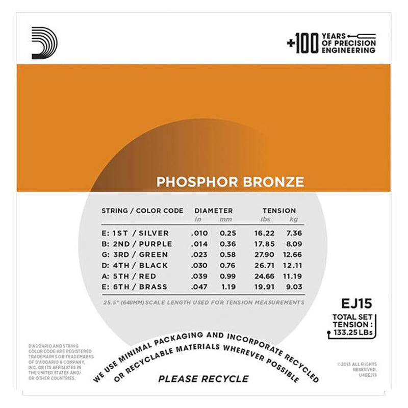 D'Addario EJ15 Phosphor Bronze Set - Extra Light, 10-47