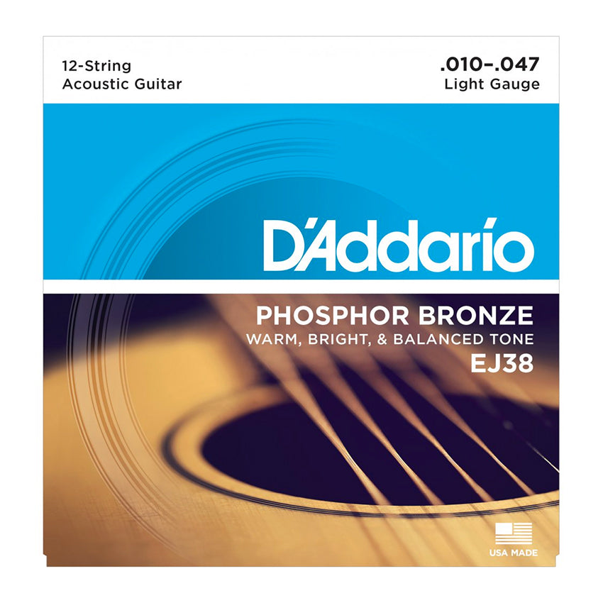 D'Addario EJ38 Acoustic 12-String Set - Bronze, Light, 10-47