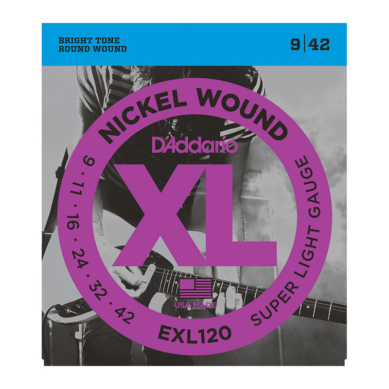 D'Addario EXL120 Electric Guitar Set Nickel Wound, Super Light, 9-42