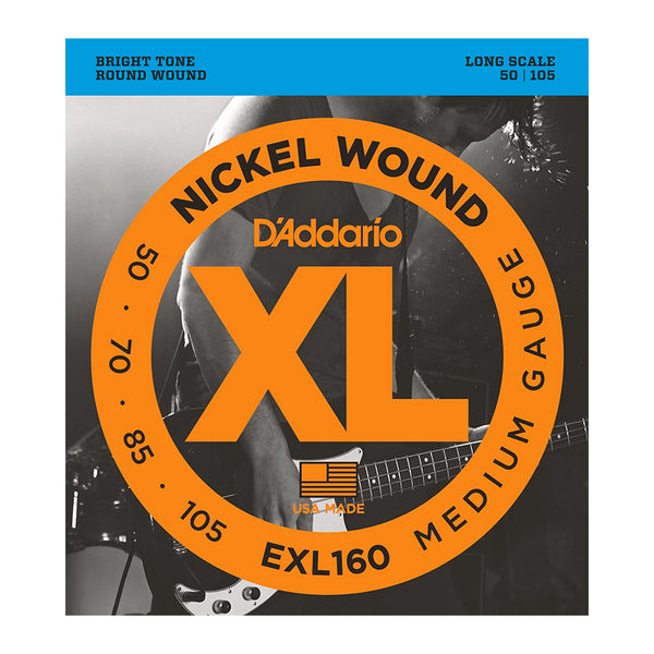 D'Addario EXL160 Nickel Wound Bass Set, Medium, 50-105, Long Scale