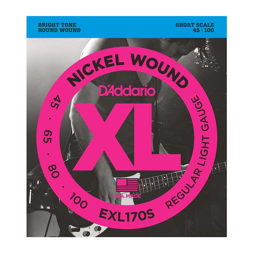 D'Addario EXL170S Nickel Wound Bass, Light, 45-100, Short Scale