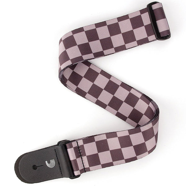 D'Addario Planet Waves  Checkerboard Guitar Strap - Black and Grey