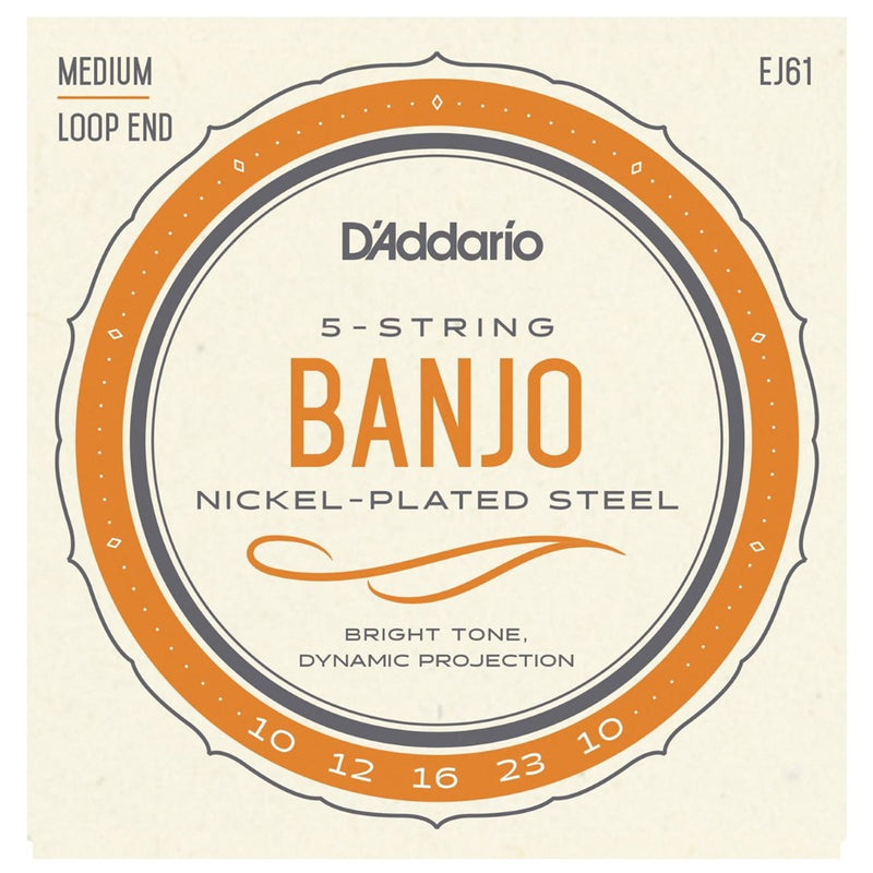 D'Addario EJ61 Banjo 5-String Set, Nickel, Medium, 10-23