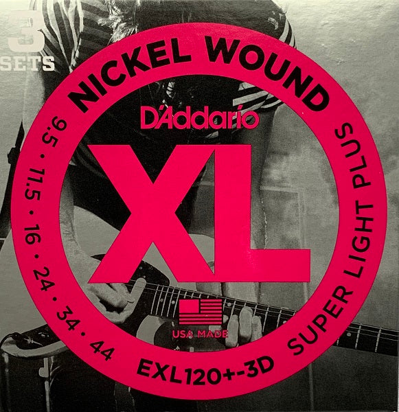D'Addario EXL120+3D  Super Light Plus (3 Pack) 9.5 - 44