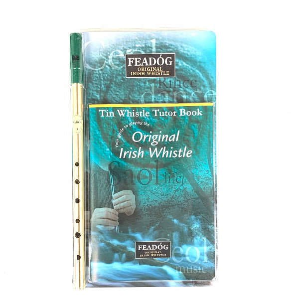 Feadog Tin Whistle pack w/ Tutor Book - Brass Key of D