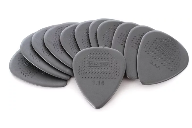 "Dunlop 1.14mm Nylon ""Greys"" Max-Grip Pick Pack - 12 Picks"