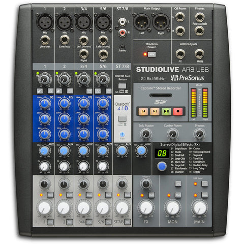 PreSonus AR8 8 channel analogue mixer with multitrack recording