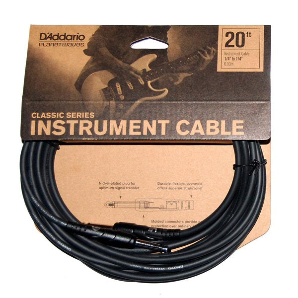D'Addario 20 foot Classic Series Instrument Cable w/ Straight Plugs