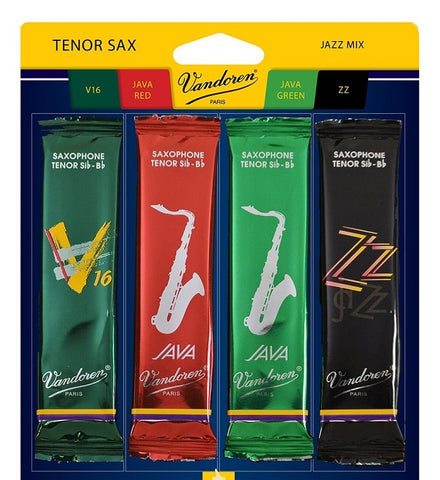 Vandoren Tenor Sax Jazz Reed Mix Card 4 Reeds SIZE 2