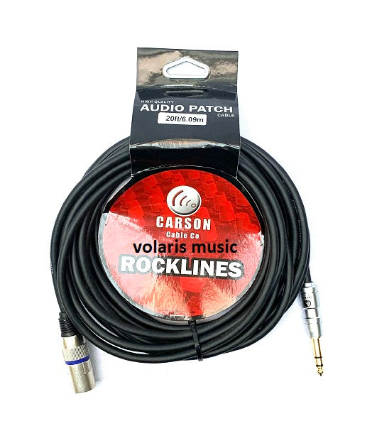 Carson ROM20ST  Rocklines 20ft / 6m Balanced TRS-Male XLR Cable