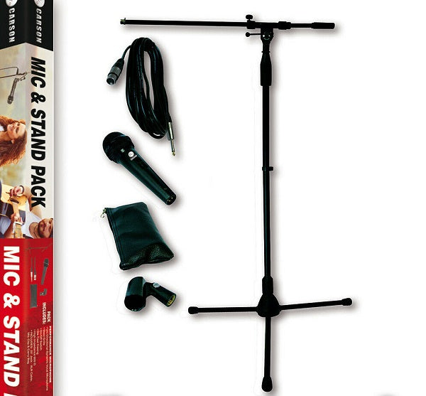Carson Microphone & Stand Pack - Mic with Carry Bag, Boom Stand, Cable & Clip