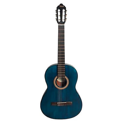 Valencia VC203TBU 3/4 Size Classical Guitar in Transparent Blue