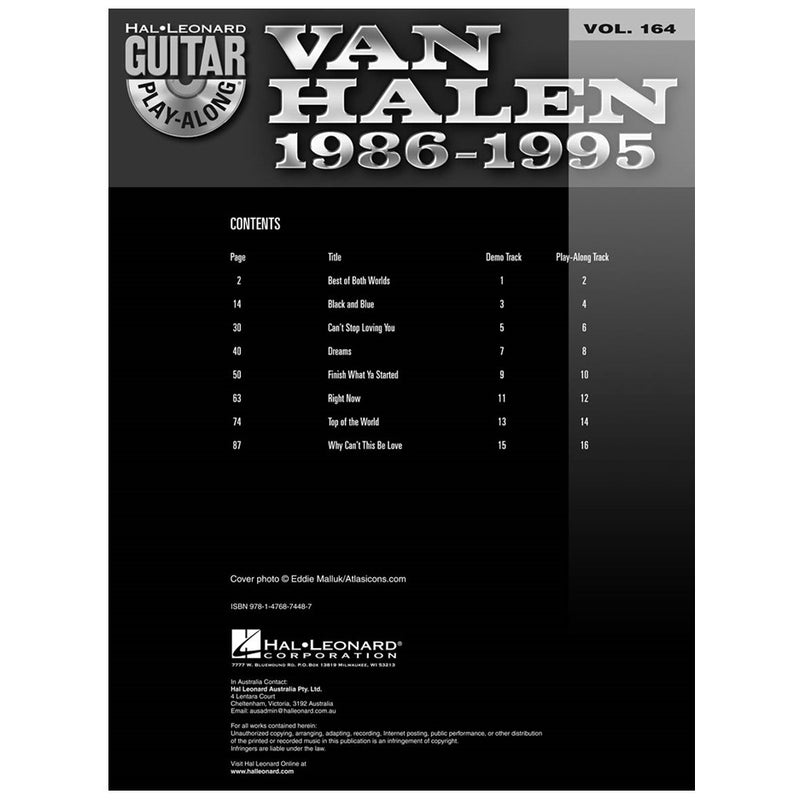 Van Halen 1986-1995 Guitar Play-Along w/cd