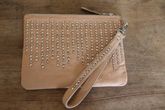 LILY STUDDED LEATHER CLUTCH - TAN, NATURAL OR BLACK
