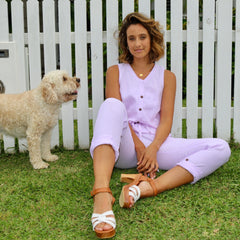 REBEKAH WASHED LINEN JUMPSUIT - LILAC