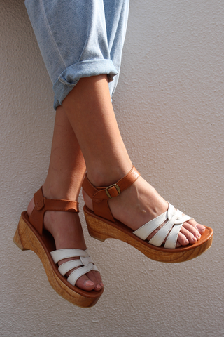 **PREORDER : LIMITED EDITION: SAGE LOW PLATFORM SANDAL - WHITE/TAN