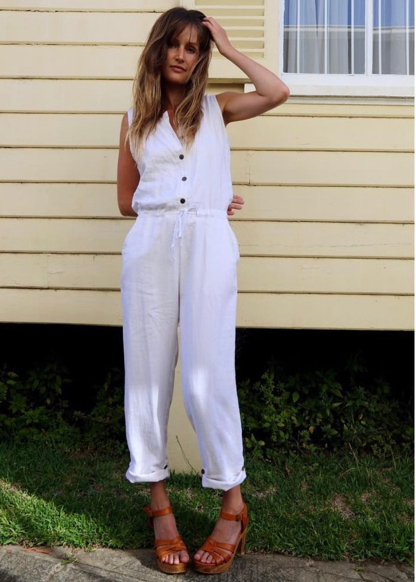 REBEKAH WASHED LINEN JUMPSUIT - WHITE