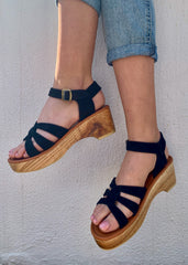 LIMITED EDITION: SAGE LOW PLATFORM SANDAL - ALL BLACK