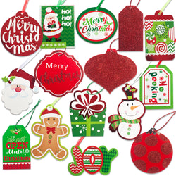 Christmas Gift Tags tie on with string 60 Count (15 Assorted Glitter, Foil, printed designs for DIY Xmas Present Wrap and Label Package Name Card)