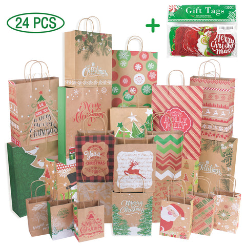 24 Kraft Christmas Gift Bags Assorted sizes with 60-Count Christmas Gift Tags(Bulk Set,6 XL,6 Large,6 Medium,6 Small)
