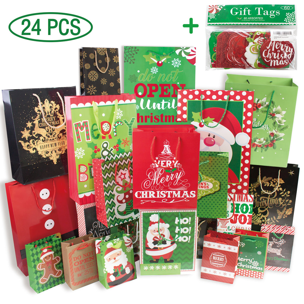 Christmas Gift Bags.24 Christmas Gift Bags Assorted Sizes With 60 Count Christmas Gift Tags Bulk Set 6 Xl 6 Large 6 Medium 6 Small