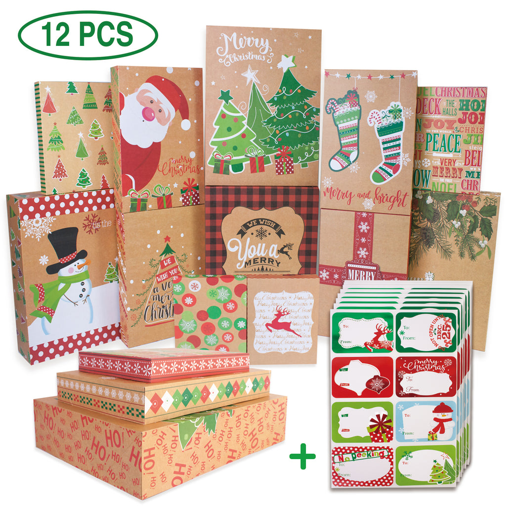 Christmas Gift Boxes.12 Kraft Christmas Gift Boxes With Lids For Clothes And 80 Count Foil Christmas Gift Tag Stickers Assorted Size For Wrapping Robes Shirts And