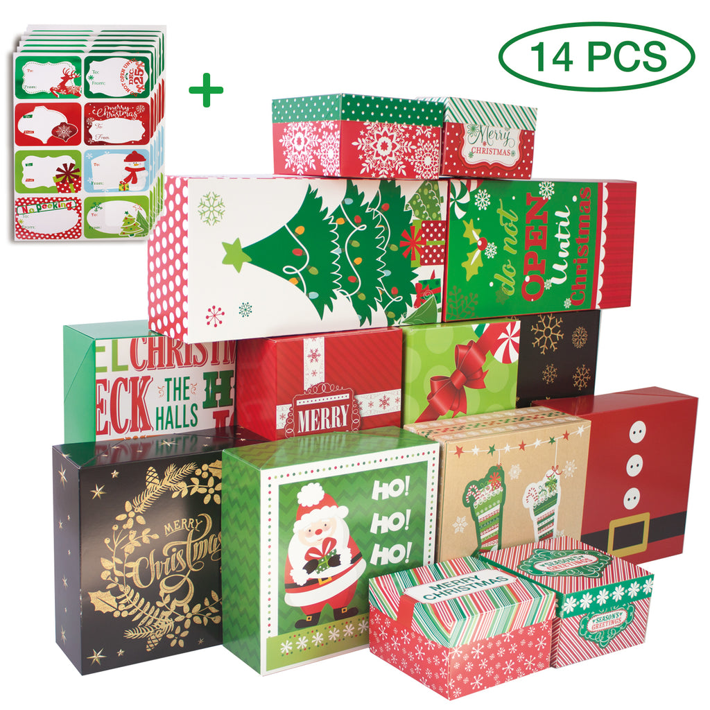 Christmas Gift Boxes.14 Count Decorative Christmas Gift Boxes With Lids And 80 Count Foil Christmas Gift Tag Stickers Assorted Size 6 Rectangle 4 Square 4 Small Square