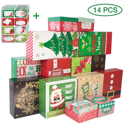 14-Count Decorative Christmas Gift Boxes with Lids and 80-Count Foil Christmas Gift Tag Stickers (Assorted size,6 Rectangle,4 Square, 4 Small Square )