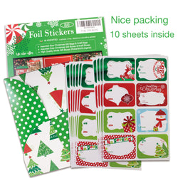 80-Count Foil Christmas Gift Tags Sticker,- 8 Jumbo Designs - Xmas To From Christmas Stickers Name Tags Write On Labels - Holiday Present Labels