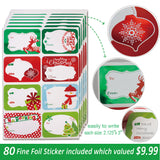 12 White Gift Boxes with Lids for Christmas and 80-Count Foil Christmas Gift Tag Stickers (Assorted size for wrapping  Robes ,Shirts and Clothes)