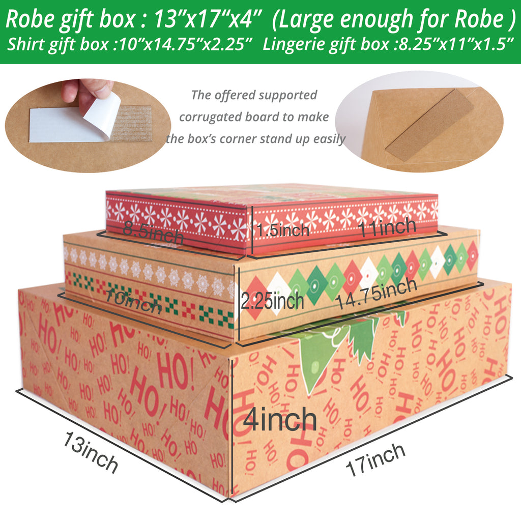 Christmas Gift Boxes With Lids.12 Kraft Christmas Gift Boxes With Lids For Clothes And 80 Count Foil Christmas Gift Tag Stickers Assorted Size For Wrapping Robes Shirts And