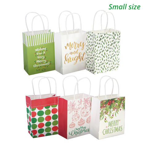 Christmas Bags In Bulk.24 White Kraft Christmas Gift Bags Assorted Sizes With 60