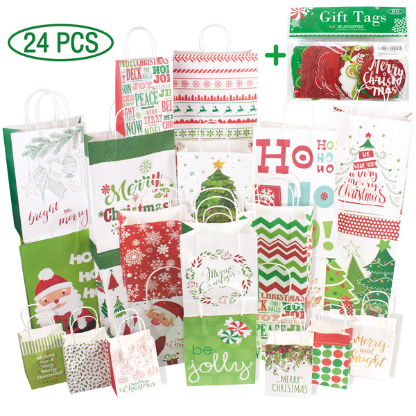 24 White Kraft Christmas Gift Bags Assorted sizes with 60-Count Christmas Gift Tags(Bulk Set, 6 XL,6 Large,6 Medium,6 Small)