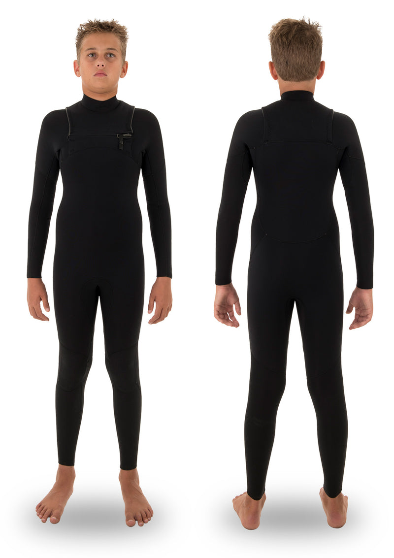 needessentials kids youth 4/3 thermal chest zip wetsuit non branded black winter summer