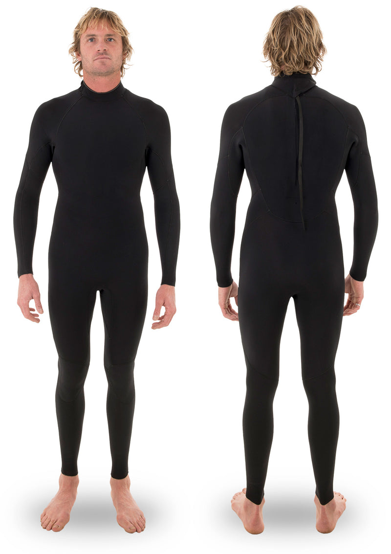 needessentials 3/2 thermal back zip wetsuit laurie towner surfing winter black non branded