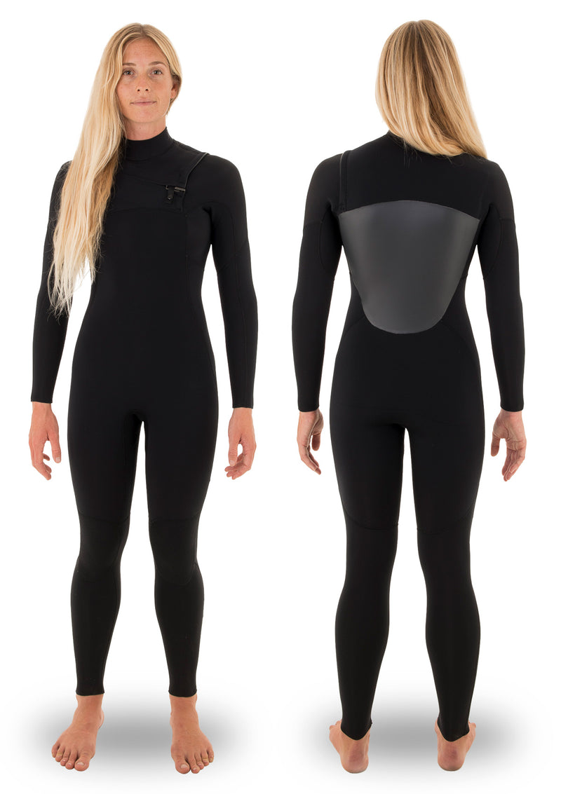 needessentials womens 5/4 chest zip thermal winter wetsuit surfing black