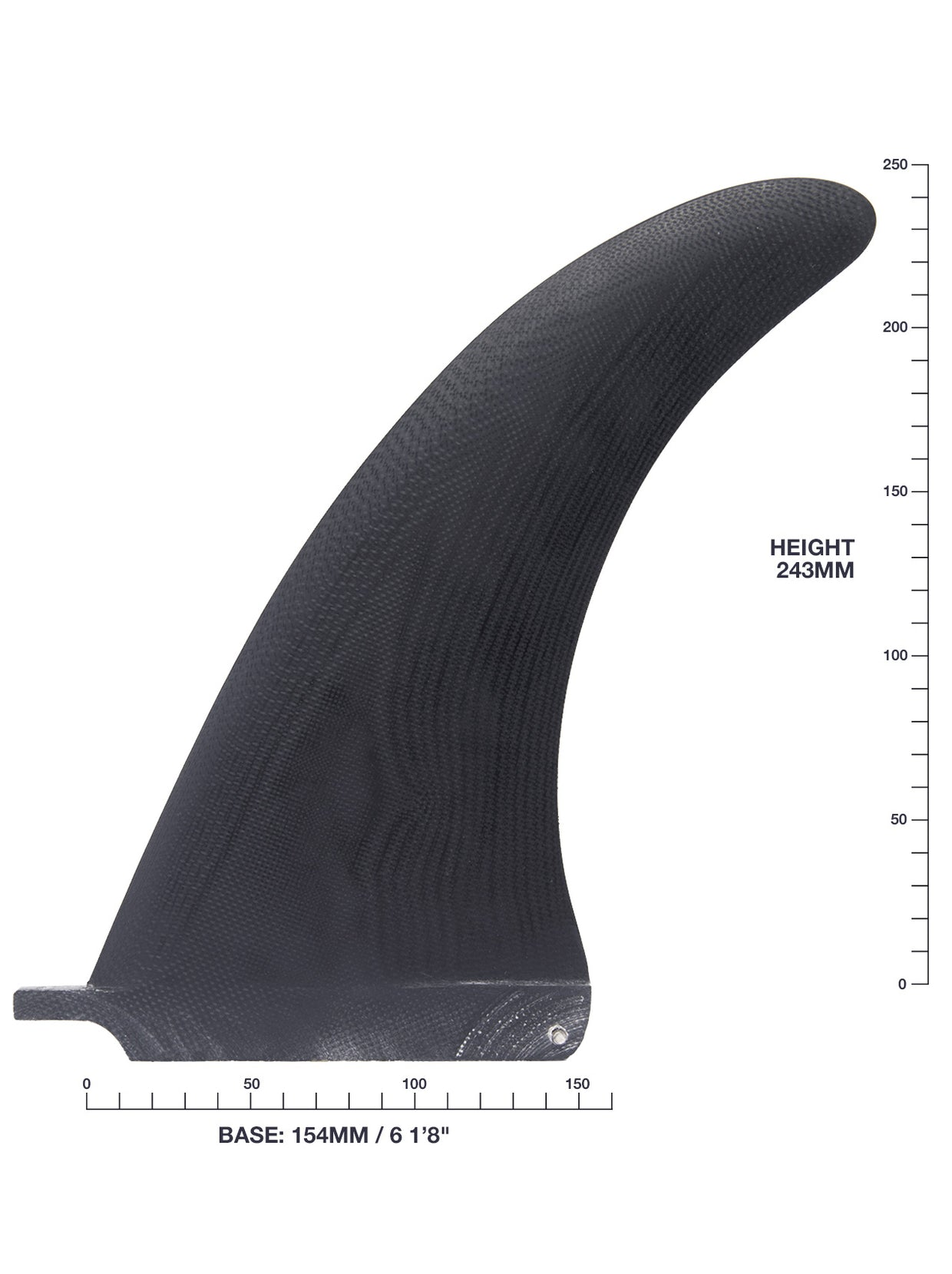 "Hand Foiled 9"" Traditional Upright Single Fin - Black"