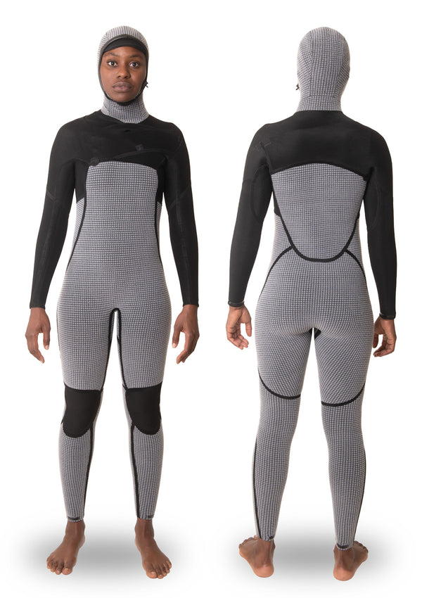 Womens 4/3 Liquid Taped Thermal Hooded Chest Zip Wetsuit