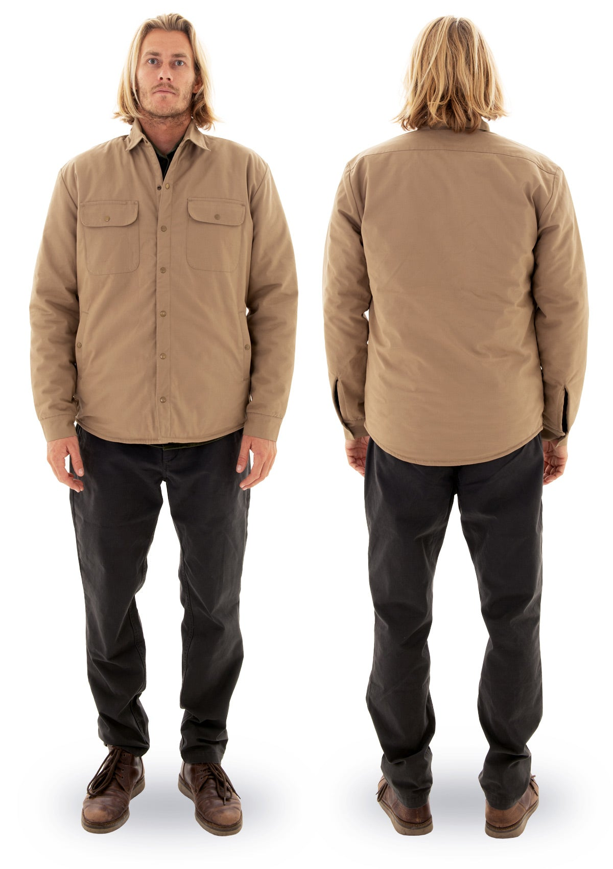 needessentials organic cotton wool insulated jacket tan torren martyn