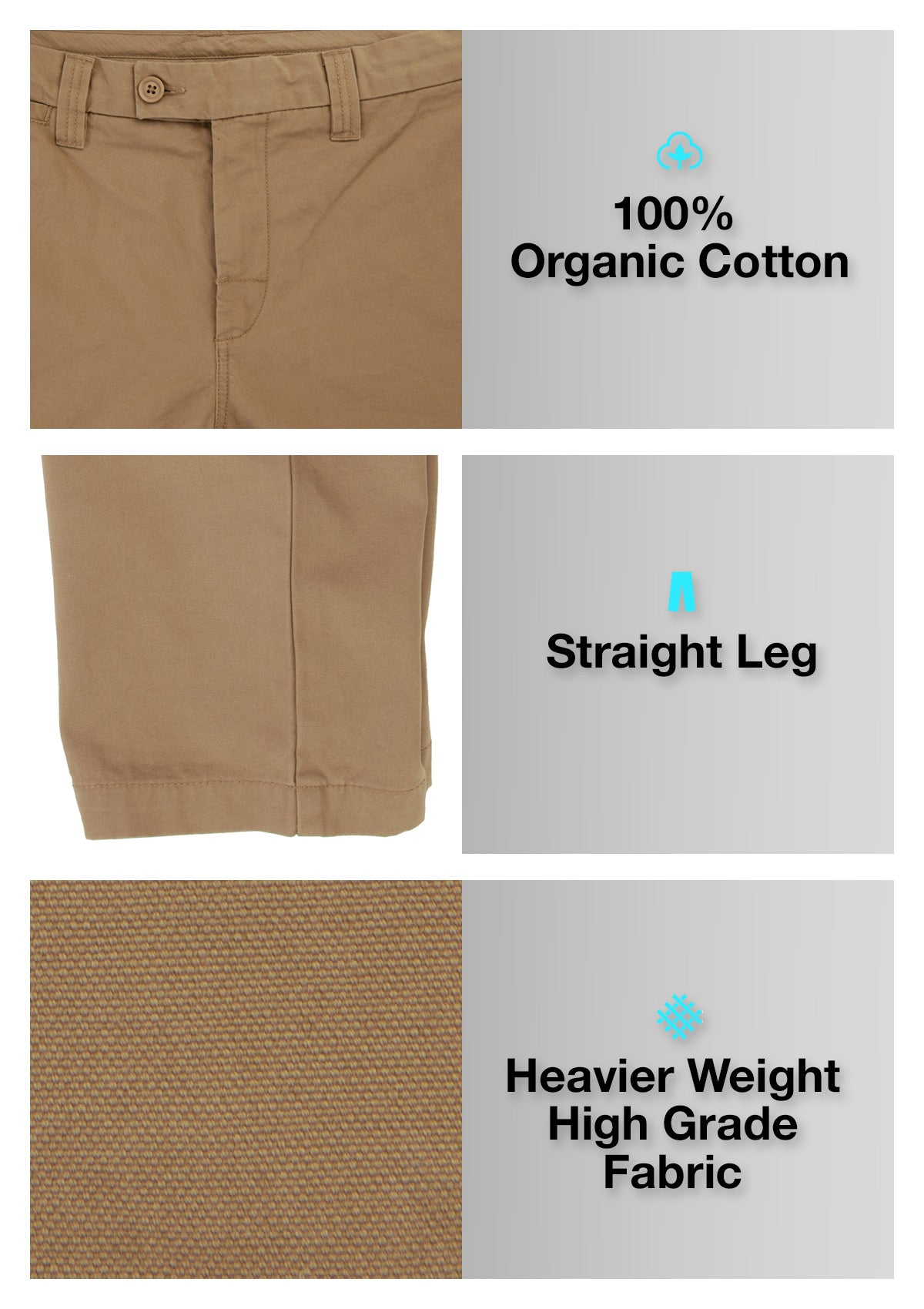 Organic Cotton Straight Leg Pant - Tan