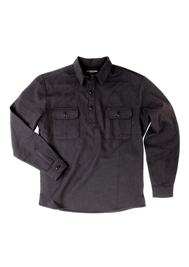needessentials wool insulator pullover shirt black