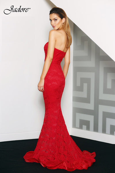 $130 Rental - JADORE J8087 Gown (Red) RRP $415 Sydney dress hire dress for a night