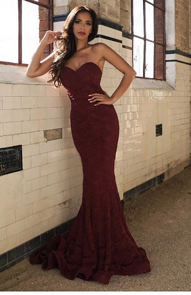 $130 Rental - JADORE J8087 Gown (Wine Red) Sydney dress hire dress for a night